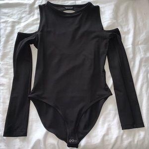 Topshop Black Cold Shoulder Bodysuit